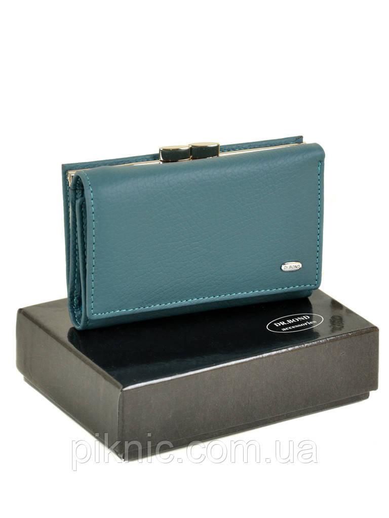 Компактный кожаный женский кошелек на кнопке Dr Bond. Из натуральной кожи.