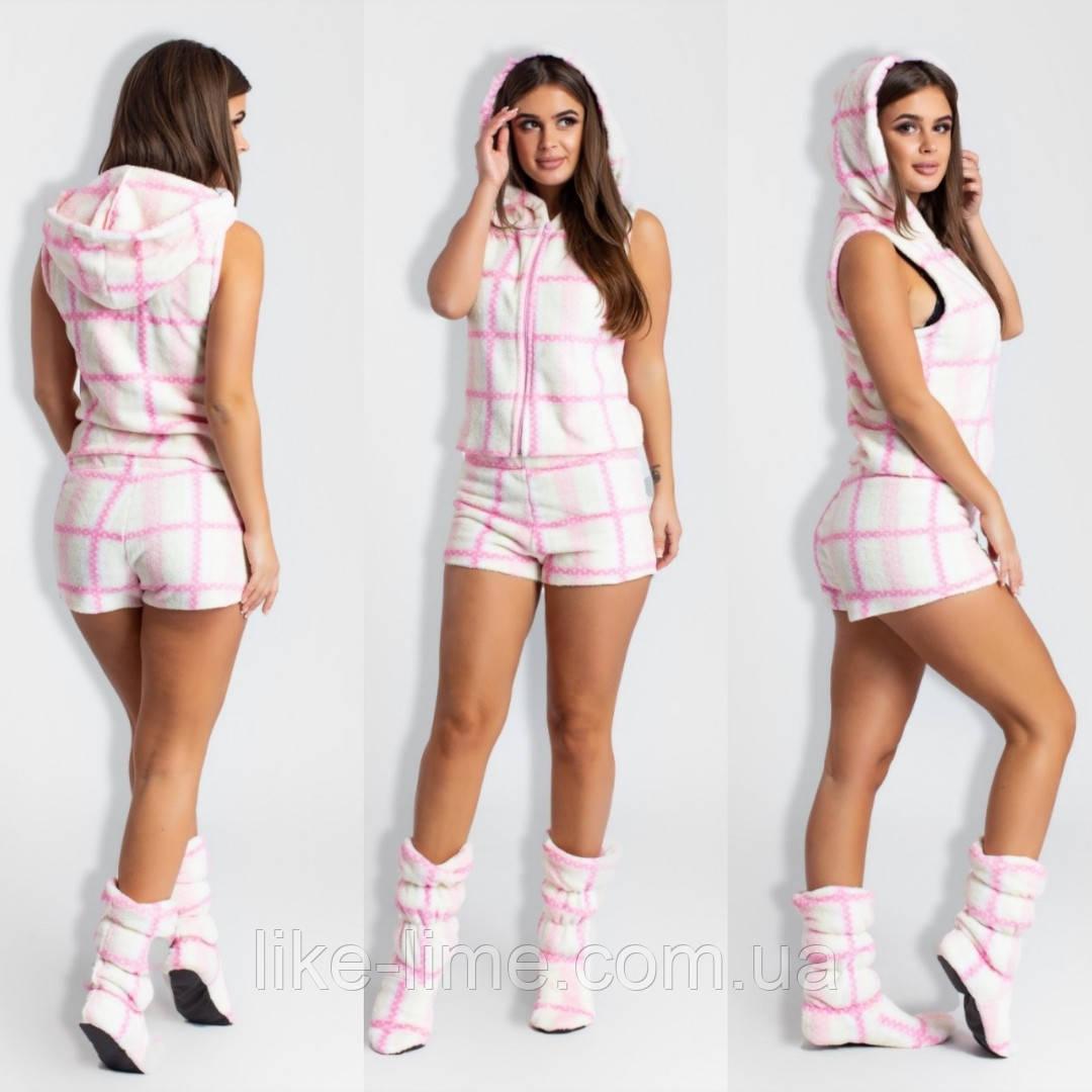 Женская махровая пижама тройка с ушками