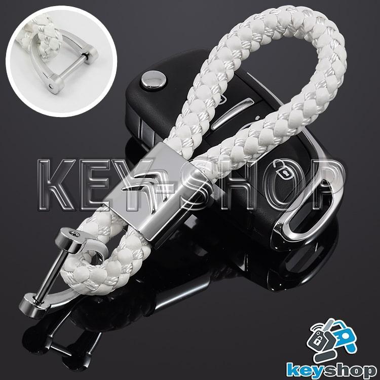 Брелок для авто ключей Citroen (Ситроен) кожаный плетеный (белый)