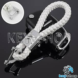 Брелок для авто ключей Citroen (Ситроен) кожаный плетеный (белый), фото 2