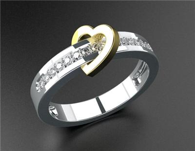 """Кольцо с бриллиантами """"Сердце""""."""