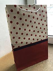 Подарочный (КРАФТ) пакет БОЛЬШОЙ ВЕРТИКАЛЬНЫЙ ''Горох'' 25*36*8 см