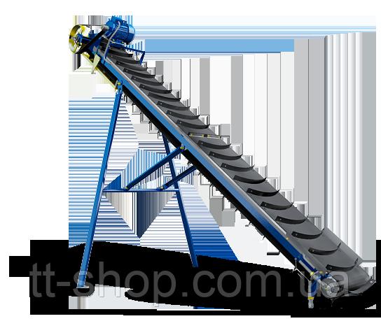 Ленточный конвейер наклонный длиной 8 м, шириной 500 мм с шевронной лентой, 2,2 кВт