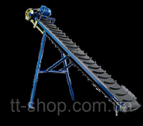 Стрічковий конвеєр похилий довжиною 2 м, шириною 500 мм з шевронной стрічкою, 0,55 кВт, фото 2