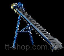 Ленточный конвейер наклонный длиной 2 м, шириной 500 мм с шевронной лентой, 0,55 кВт