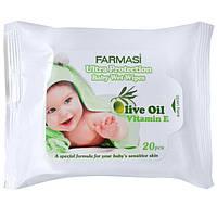 Влажные салфетки с оливковым маслом 20 шт Wipes with Olive Oil
