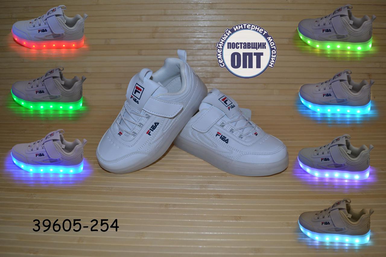 Кроссовки со светящей LED подошвой с USB кабелем размеры 26-29