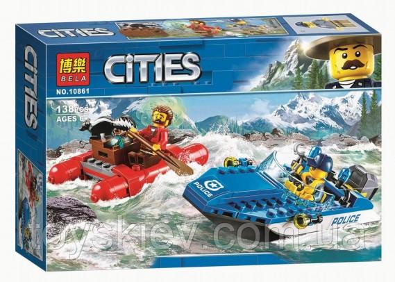 """Конструктор Bela 10861 City """"Погоня по горной реке"""" 138 деталей. Аналог Lego City 60176"""