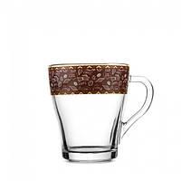 Кружка стеклянная 280 мл «13с1649» рисунок кофе отводка в ассортименте.