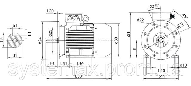 АИР100L2 ― IM2081 комбинированный (габаритные и установочные размеры)