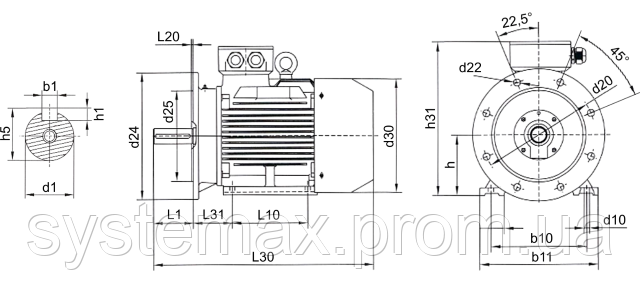 АИР80А2 - IM2081 комбинированный (габаритные и установочные размеры)