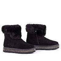 Зимние замшевые ботинки на платформе