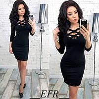 Модное платье мини приталенное с глубоким декольте рукав три четверти черное