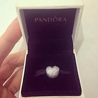 Серебряный шарм «Пандора» клипса, стоппер «Сердце»