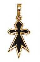 Кулон Крест с чёрной эмалью 2,5 см, медзолото, медицинское золото