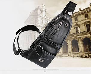 Сумка-рюкзак на одно плечо, кобура, слинг в стиле Jeep 1941. Черная / J1941 black
