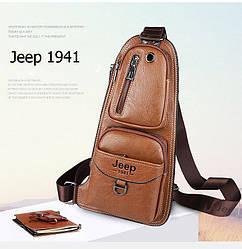 Сумка-рюкзак на одно плечо, кобура, слинг в стиле Jeep 1941. Светло-коричневая / J1941 LB