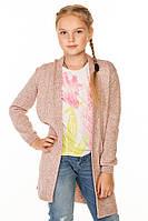 Кардиган с карманами пудрового цвета на девочку 128-152 р