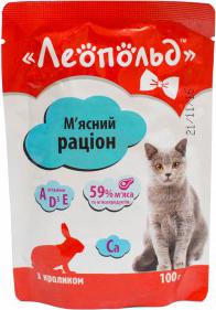 Влажный корм для кошек Леопольд Мясной рацион с кроликом 24 шт/100 гр