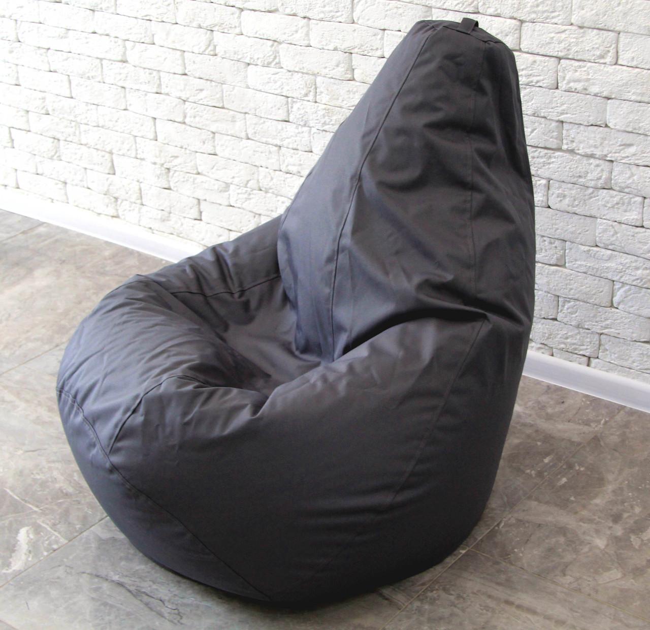 Бескаркасное Серая Кресло мешок груша пуфик XL 120х75