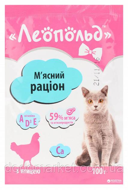 Влажный корм для кошек Леопольд Мясной рационс птицей 24 шт/100 гр