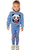Вязаный костюм с пандой и сердечками на девочку 1-3 года, фото 1