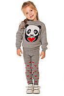 Комплект вязаный с пандой и сердечками на девочку 1-3 года, фото 1