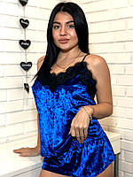 Яркий велюровый комплект майка с шортами для сна