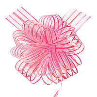 Бант-стяжка из органзы  15 см перламутр розовый