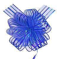 Бант-стяжка из органзы  15 см перламутр синий