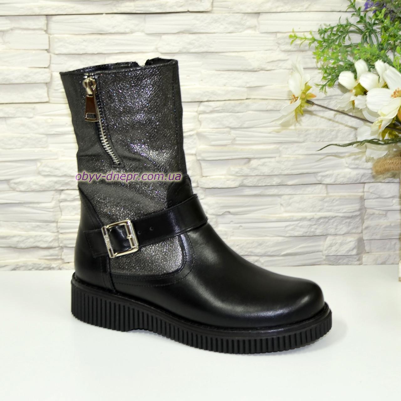 Ботинки кожаные подростковые для девочек на утолщённой подошве