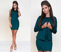 Красивое платье двойка мини по фигуре без рукав с пиджаком дайвинг зеленого цвета