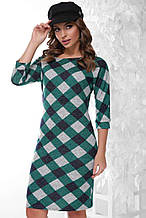 Молодежное платье Кори зеленый ромб (42-50)