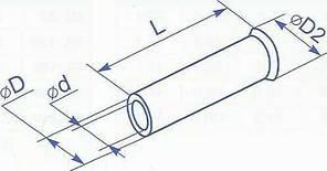 Гильза медная без изоляции для провода сечением 1 квадрат мм (уп. 100шт)