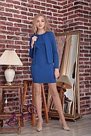 Модное платье двойка короткое облегающее без рукав с пиджаком дайвинг темно синее