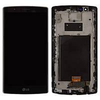 Дисплей для LG G4 H810, H811, H815, F500, модуль в сборе (экран и сенсор), с рамкой, черный, оригинал