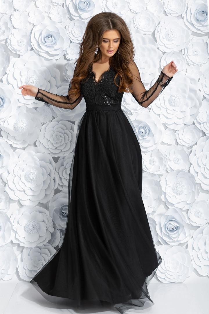 """Длинное вечернее платье """"ALIANTE"""" с вышивкой и пайетками (2 цвета)"""
