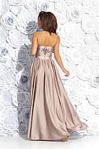 """Длинное шелковое платье на бретельках """"RIADELLA"""" с вышивкой и разрезом (4 цвета), фото 2"""