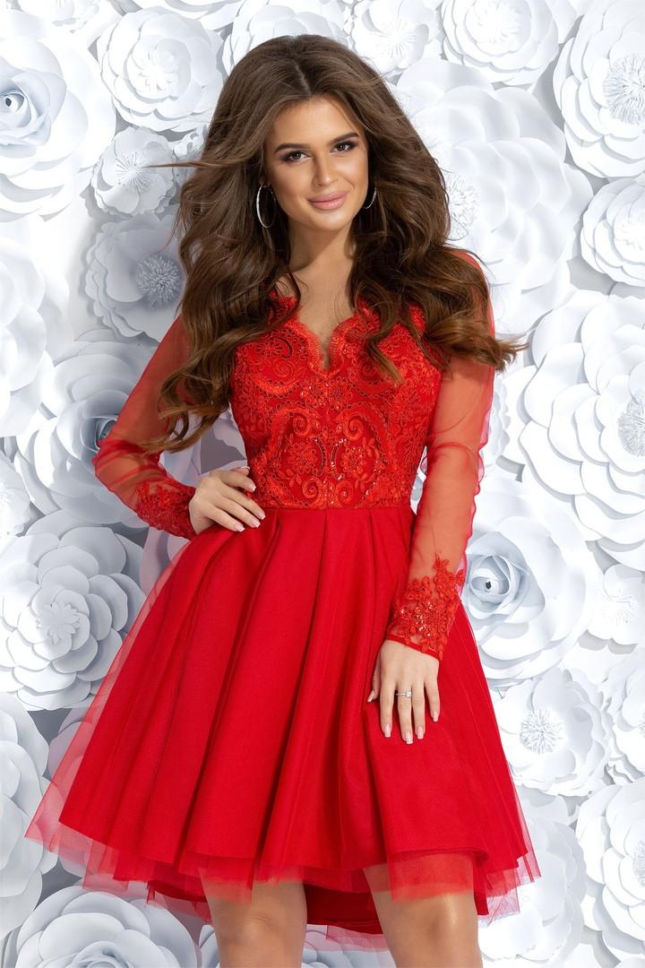 """Асимметричное коктейльное платье """"ALIANTE"""" с вышивкой и пайетками"""