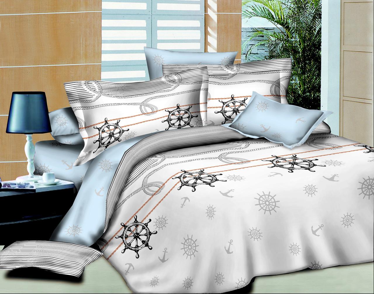 Двуспальный комплект постельного  белья  с евро простынью Морской круиз