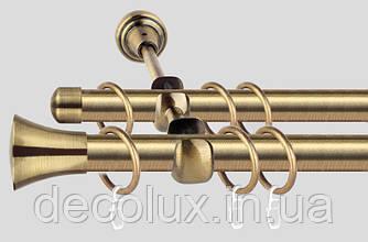 Карниз для штор металлический, двухрядный 19 мм (Принц) Антик