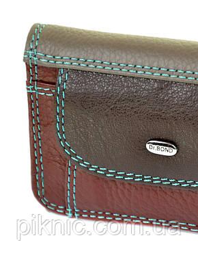 Женский компактный кожаный кошелек Dr.Bond. Из натуральной кожи. Кофе, фото 2