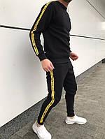 Мужской спортивный костюм Off white черный с полосками Отличного качества Реплика