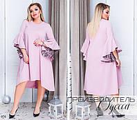Платье свободного вечернее креп-дайвинг+сетка 48-50,52-54,56-58, фото 1