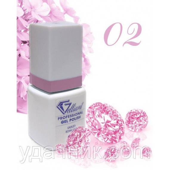 Гель-Лак №002 Bold Lilac (насыщенный сиреневый) UV/LED Gelliant 9 мл.