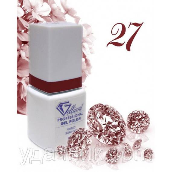 Гель-Лак №027 Claret Shimmer (бордовое сияние) UV/LED Gelliant 9 мл.