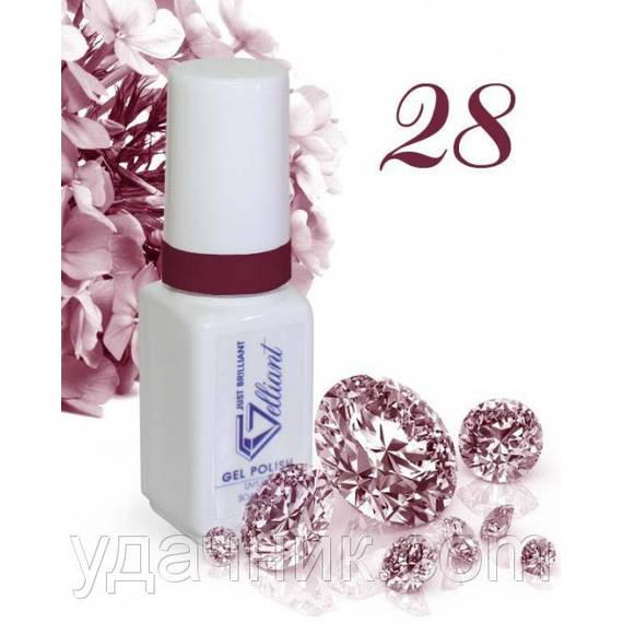 Гель-Лак №028 Diamond Cherry (бриллиантовый вишневый) UV/LED Gelliant 5 мл.