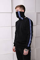 Мужской спортивный костюм Kappa черный с синими полосками Отличного качества Реплика, фото 1