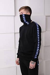 Мужской спортивный костюм Kappa черный с синими полосками Отличного качества Реплика