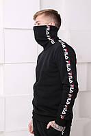 Мужской спортивный костюм Fila черный c полосками Отличного качества Реплика, фото 1